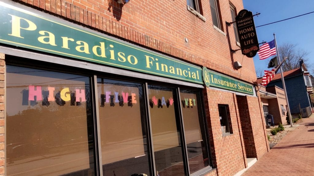 Picture of the front windows at Paradiso Insurance