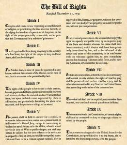 A photo of the first ten amendments to the U.S. Constitution.