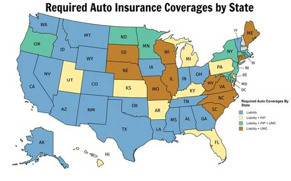 map infographic of required auto insurance coverage by state in the us